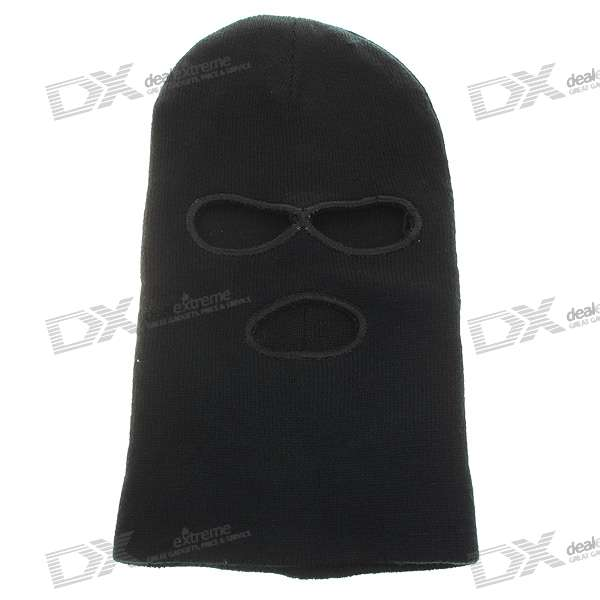 Wool Double Layer knitted Fabric Mask - Black