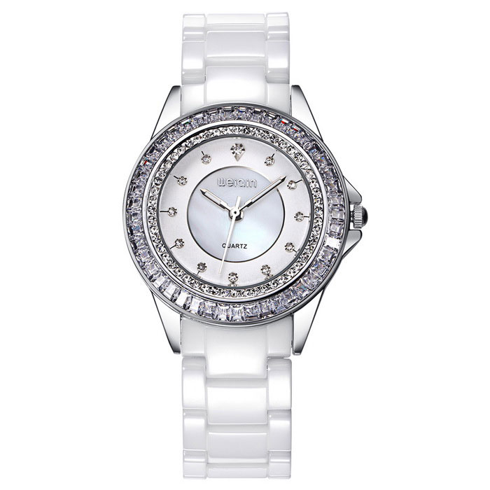 WeiQin 393601 Women's Rhinestones Decorated Bezel Wrist Watch - White