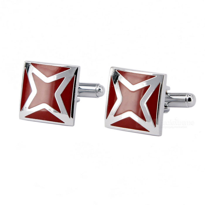 Men's Unique Patterned Brass Cufflinks - Silver + Palm Red (Pair)