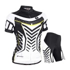 Outdoor Sports Summer Seamless Super Thin Breathable Polyester Wearing Suit - Black + White (M)