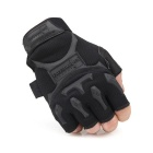 FREE SOLDIER Anti-slip PU Half-finger Gloves - Black (Pair/Size L)