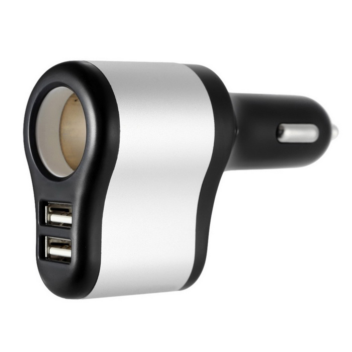 3-in-1 Dual USB Car Cigarette Lighter Charger - Black + Silver