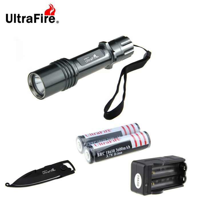 Ultrafire XM-L2 889lm 5-mode lampe de poche w / multi-usage Knife - Gris