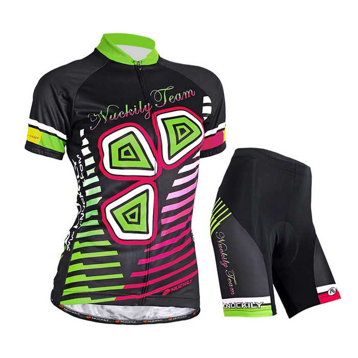 NUCKILY Women's Summer Cycling Jerseys Suit - Black (M)