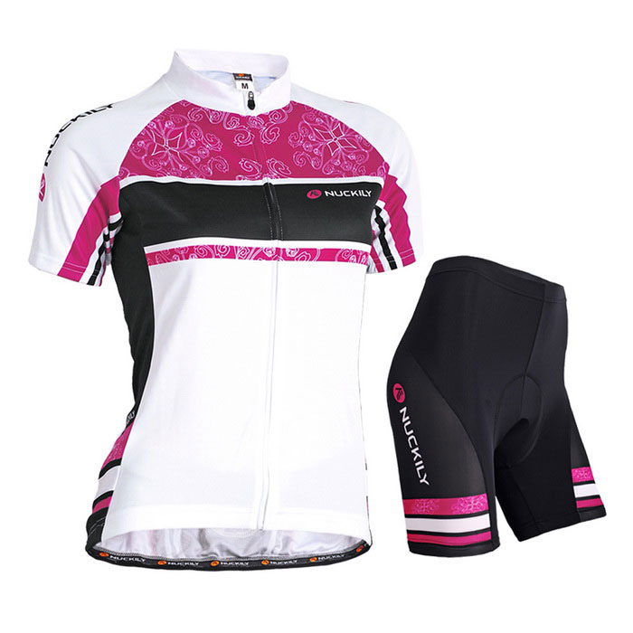 NUCKILY Women's Summer Cycling Jerseys Suit - Pink (L)