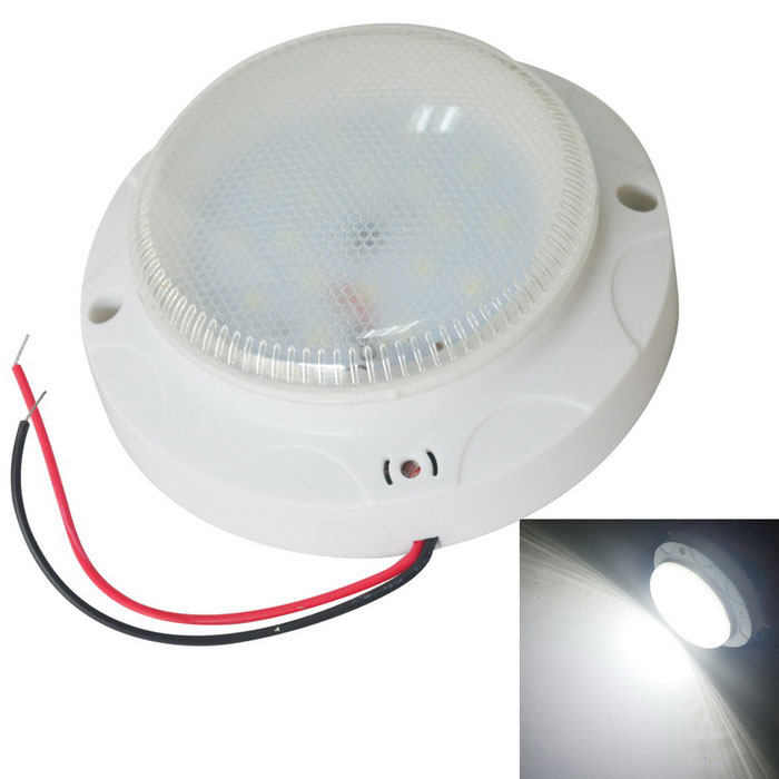 JIAWEN 5W Cool White18-LED lámpara de techo de control de voz-blanco (AC 220V)