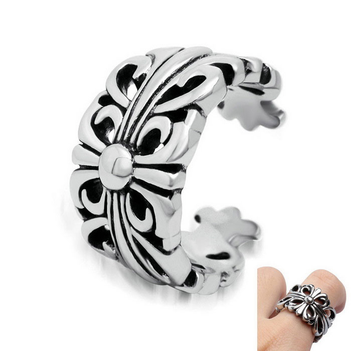 Vintage Hollow Cruciferous Opening Ring for Men & Women - Silver