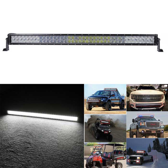 400W 34000lm Dual Row 80-OSRAM LED 5D Lens Combo Light Bar w/ Stand