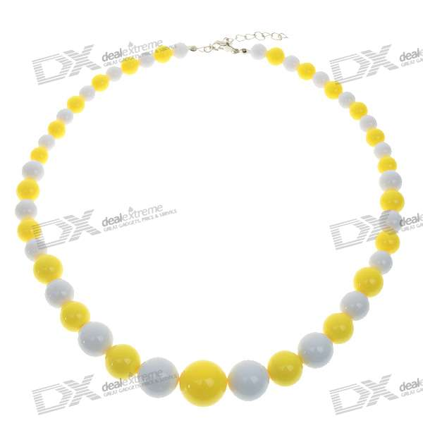Polyresin Round Beads Necklace - 46~49cm (5-Pack)