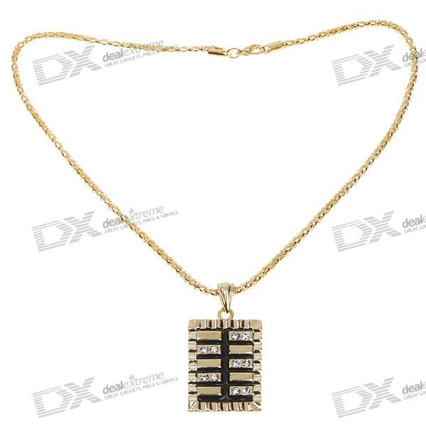 Zinc Alloy + Imitation Diamond Gold Necklace with Rectangle Pendant (47cm)