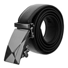 Pánské Rozdělit Leather Belt w / Ray-Pattern Automatic Buckle - Black (1,2 m)