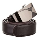 Men's Split Leather Belt w/ Ray-Pattern Automatic Buckle - Brown(1.2m)