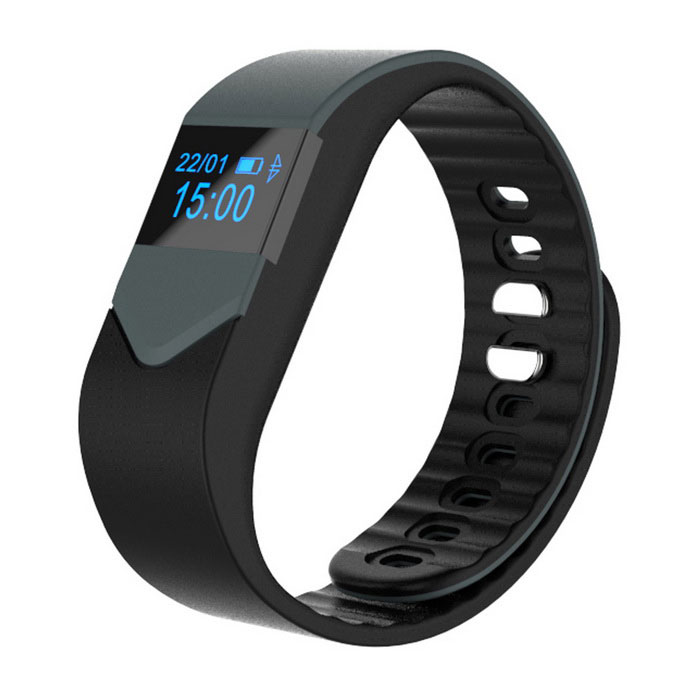 "M3S 0.49"" Smart Fitness Heart Rate Tracker Bracelet - Black + Grey"
