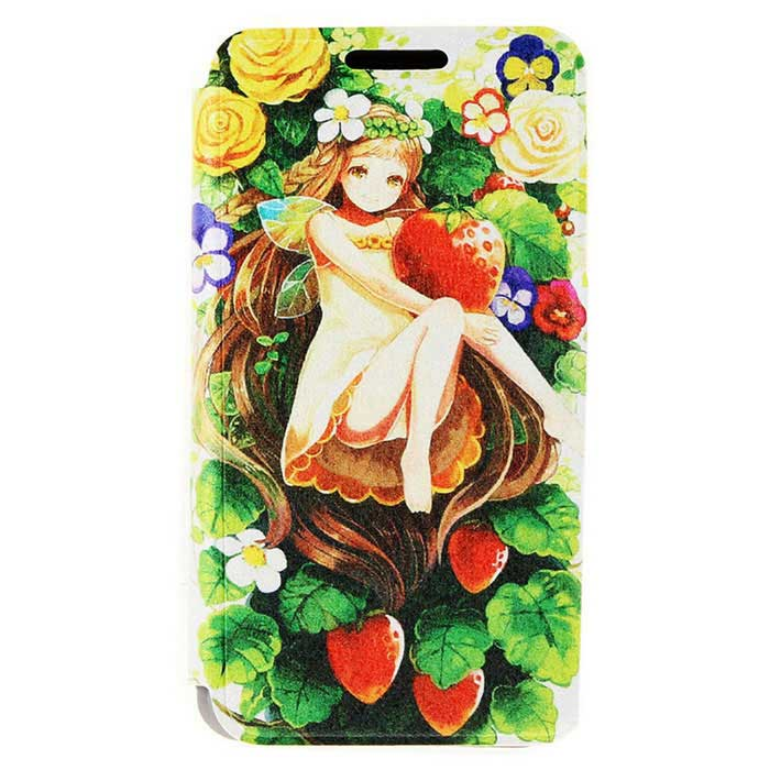 SZKINSTON Strawberry Girl PU Case for HUAWEI P8 - Green + Deep Pink