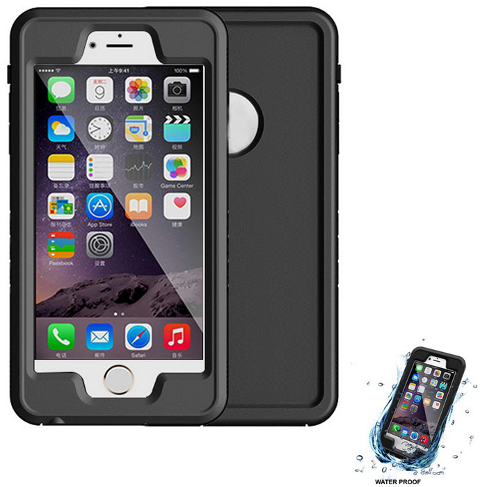 WPC-02 impermeável PC + tampa do caso TPU para IPHONE 6 / 6S plus - preto
