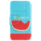 SZKINSTON Eating Watermelon PU Case for HUAWEI P8 - Blue + Red