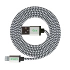 MFi 6ft / 200cm CARVE Nylon Braided Lightning USB Cable - Silver (2m)