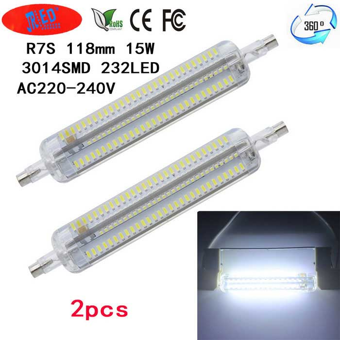 JRLED R7S 15W 1200lm Cold White 232-LED Corn Bulb (AC220-240V / 2 PCS)