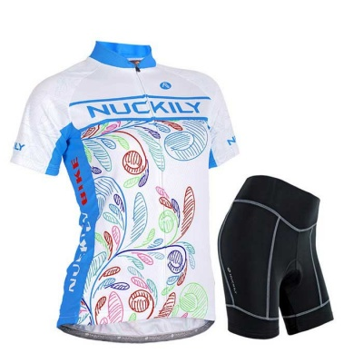NUCKILY Women's Outdoor Cycling Jerseys Short Sleeved Suit - Blue (M)