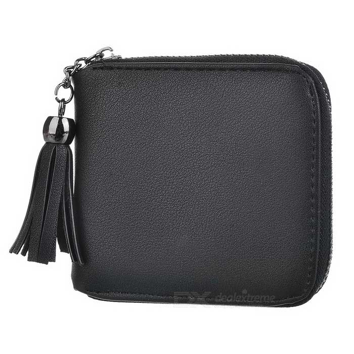 Women's Zipper Imitation Leather Wallet - Black