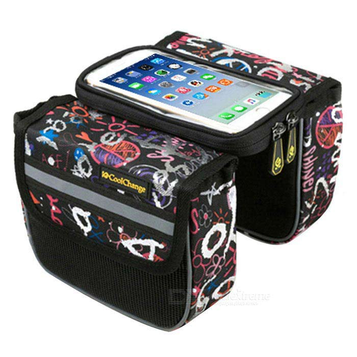 Cool Change Bicycle Touch Screen Top Tupe Bag - Black + Blue + White