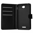 Lychee Pattern Protective PU Case for Sony Xperia E4 - Black