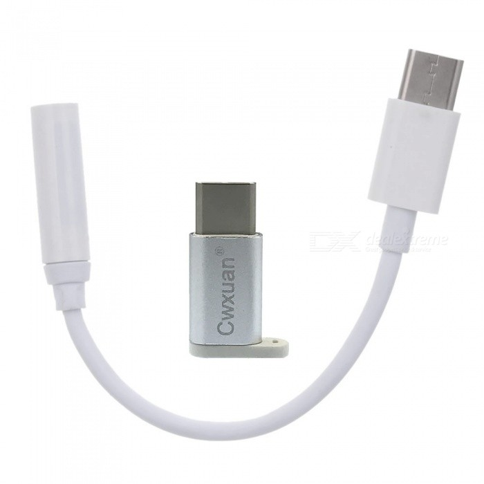 USB 3.1 Type-C Male to Female 3.5mm Audio Adapter Cable - White