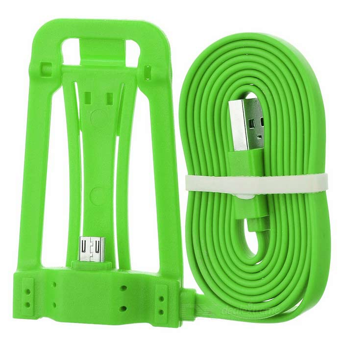 Micro USB Phone Charging Cable w/ Stand - Green