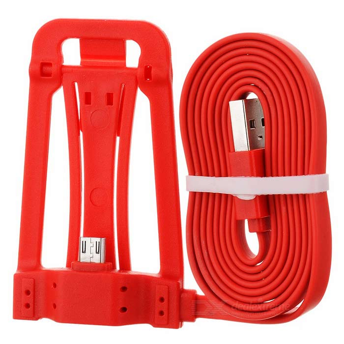 Micro USB Phone Charging Cable w/ Stand - Red
