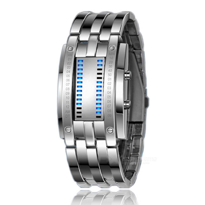 50m Vattentät zinklegering Män LED Digital Watch - Silver (2 * CR2016)