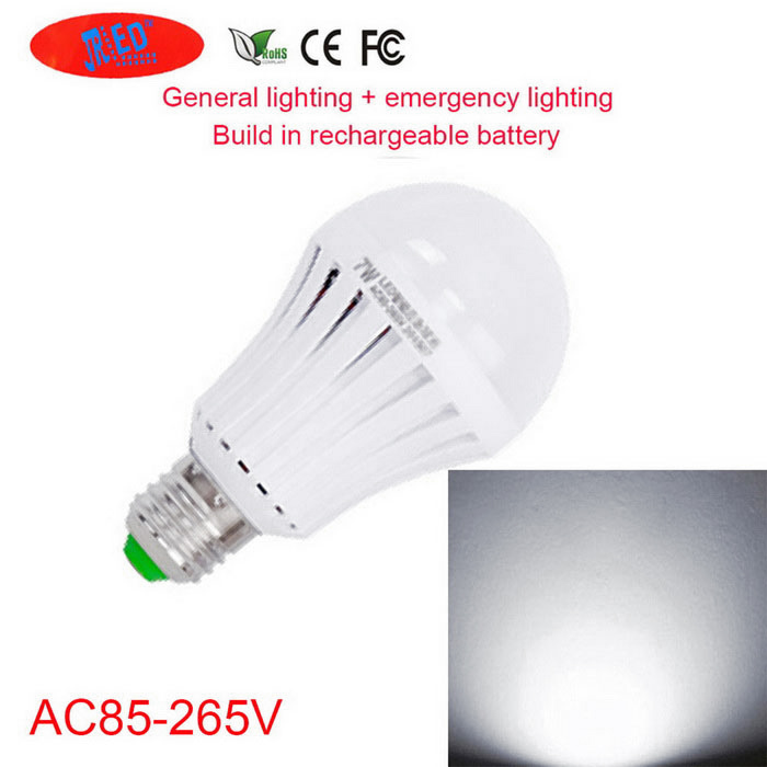 JRLED E27 7W Cold White 14-LED Rechargeable Emergency Bulb (AC85-265V)