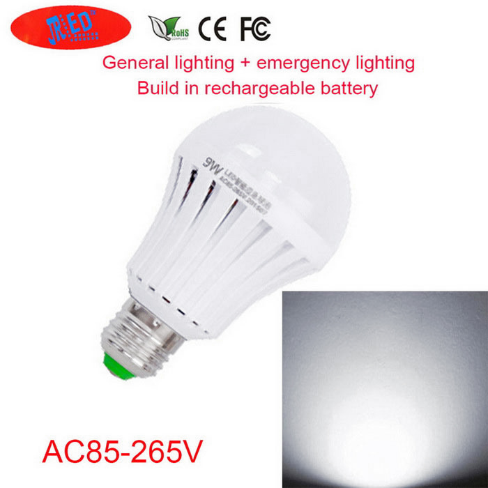 JRLED E27 9W Cold White 18-LED Rechargeable Emergency Bulb (AC85-265V)