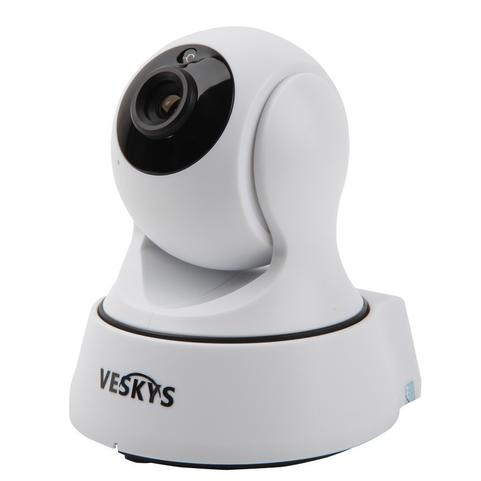 VESKYS 720P HD Wi-Fi Security Surveillance IP Camera (UK Plug)IP Cameras<br>Form  ColorWhite + BlackPower AdapterUK PlugMaterialABSQuantity1 DX.PCM.Model.AttributeModel.UnitImage SensorCMOSImage Sensor SizeOthers,1/4inchPixels1.0MPLens3.6mmViewing AngleOthers,75 DX.PCM.Model.AttributeModel.UnitVideo Compressed FormatH.264/M-JPEGPicture Resolution720p (1080 x 720) / VGA(640 x 360) / QVGA(320 x 180)Frame Rate25fpsInput/OutputBuilt-in microphone / hornAudio Compression FormatOthers,ADPCMMinimum Illumination0.3 DX.PCM.Model.AttributeModel.UnitNight VisionYesNight Vision Distance5 DX.PCM.Model.AttributeModel.UnitWireless / WiFi802.11 b / g / nNetwork ProtocolTCP,IP,UDP,HTTP,FTP,DHCP,uPnP,PPPoESupported SystemsWindows 2000,2003,XP,Vista,7Supported BrowserIE 6.0 and aboveOnline Visitor4IP ModeDynamic,StaticMobile Phone PlatformAndroid,iOSSmart AlarmMotion Detection AlarmFree DDNSYesIR-CUTYesLocal MemoryYESMemory CardTFMax. Memory Supported64GMotorYesRotation AngleHorizontal 350 degree / vertical 120 degreeSupported LanguagesEnglish,Simplified ChineseIntercom FunctionYesPacking List1 * IP Camera 1 * UK plug power adapter (100~240V)1 * Data cable (120cm)1 * Holder stand 1 * Pack of installation accessories1 * English/Chinese user manual<br>