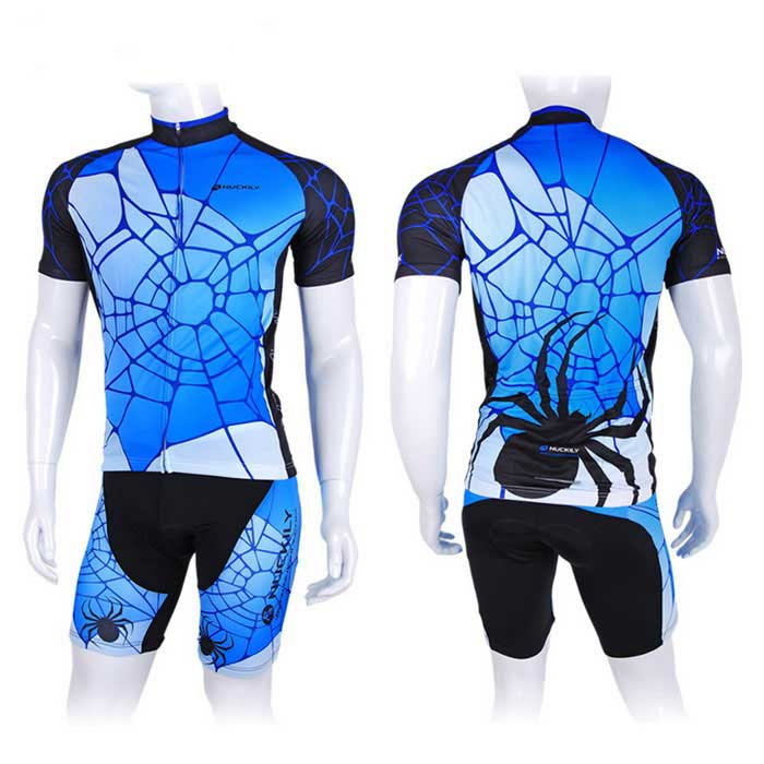 NUCKILY Spider Web Pattern Cycling Short-Sleeve Jersey + Short Pants
