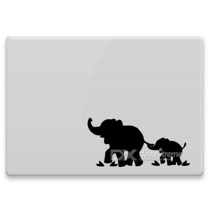 Hat-Prince Elephant Pattern Removable Skin Sticker for MacBook - Black