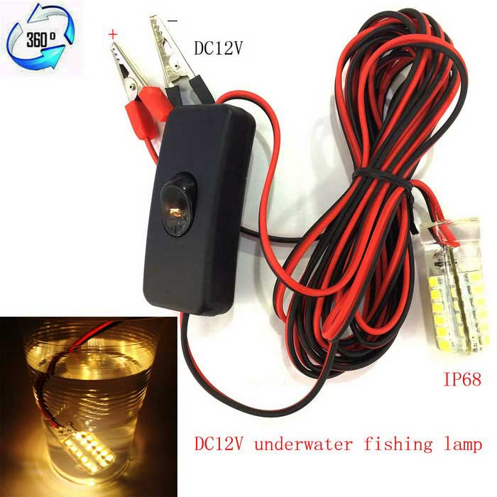 JRLED 5W 300lm 48-2835 SMD Warm White Underwater Fishing Lamp (DC 12V)