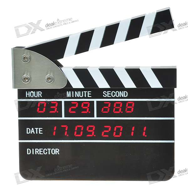 Unique USB Rechargeable Film Action/Clapper Board Desk Wall Calendar Clock with Alarm