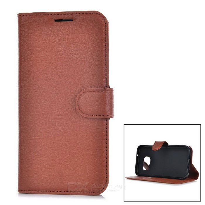 Lychee Pattern Flip-Open PU Case for Samsung Galaxy S7 - BrownLeather Cases<br>Form  ColorBrownModel-MaterialPUQuantity1 DX.PCM.Model.AttributeModel.UnitShade Of ColorBrownCompatible ModelsSamsung galaxy S7FeaturesAnti-slip,Abrasion resistance,Easy-to-remove,Holder functionPacking List1 * Case<br>