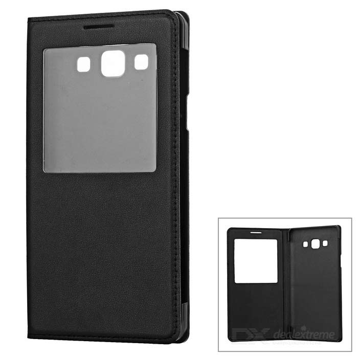 Flip Open PU Case w/ Smart Visual Window for Samsung A7 - Black