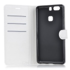 Lychee Pattern Protective PU Case for Huawei P9 Plus - White