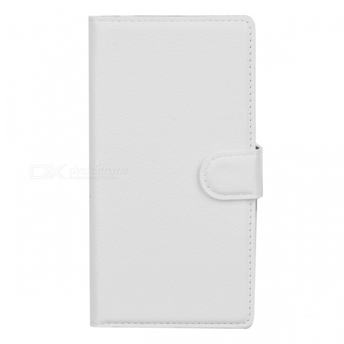 Lychee Pattern Flip-Open PU Case for Sony Xperia M2 - White