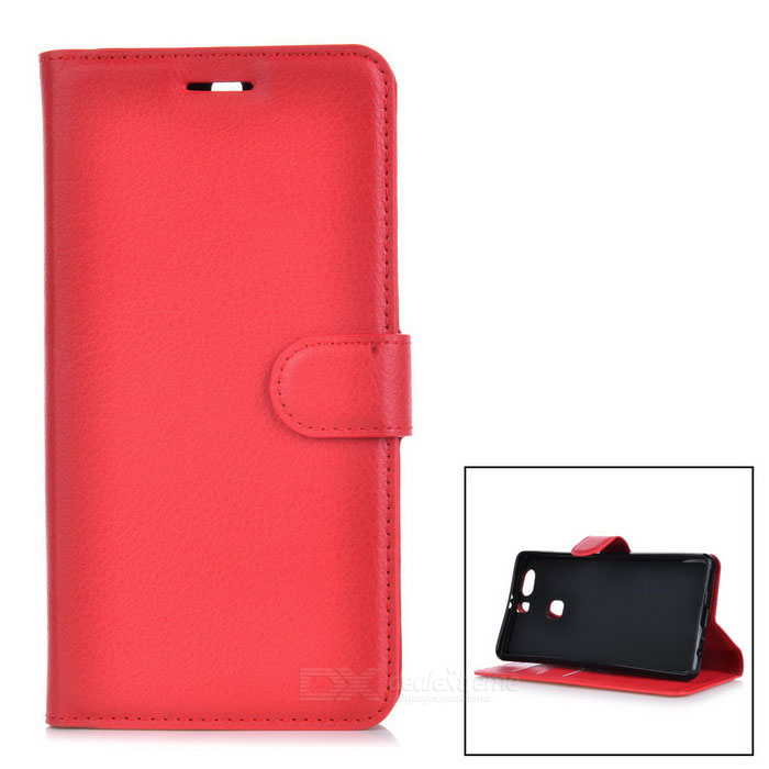 Lychee Pattern Protective PU Case for Huawei P9 Plus - Red