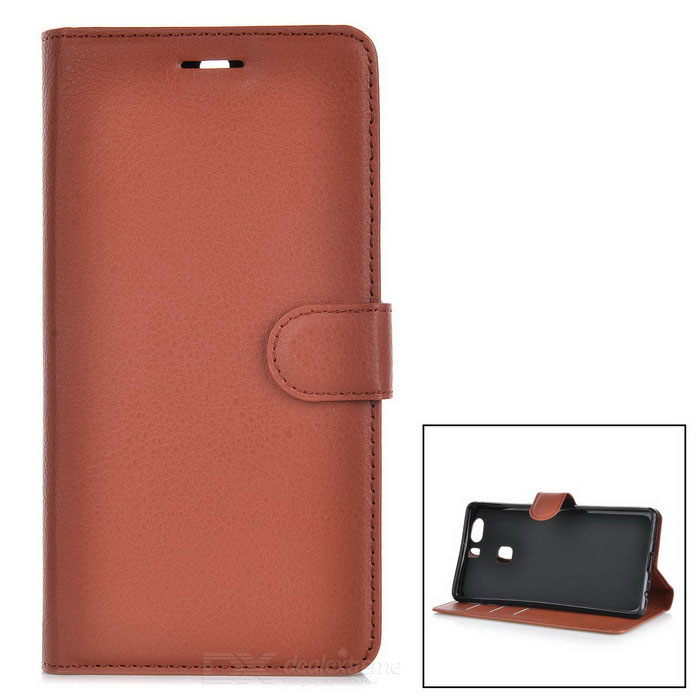 Lychee Pattern Protective PU Case for Huawei P9 Plus - Brown