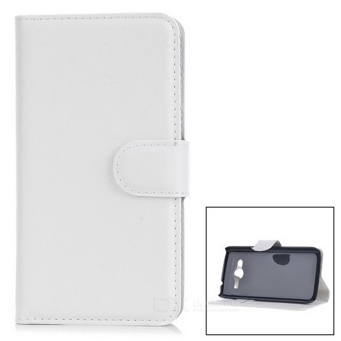 Lychee Pattern Flip-Open Case for Samsung Galaxy Core LTE G386F -White