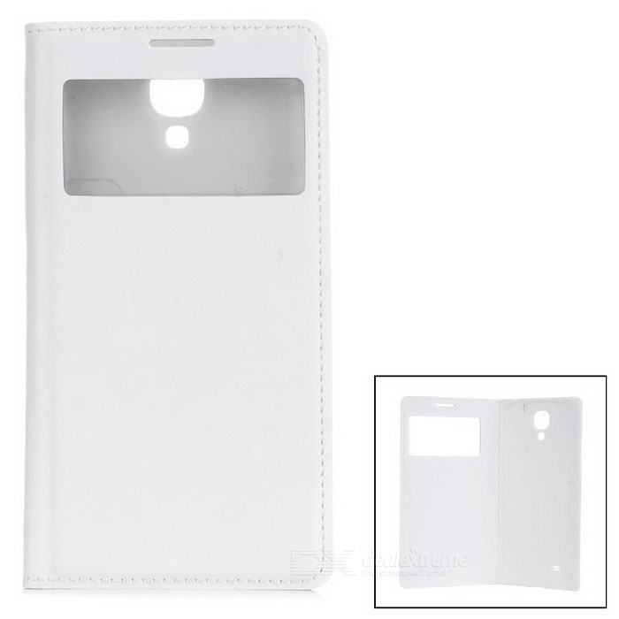 Protective PU Leather Case w/ Visual Window for Samsung S4 - White