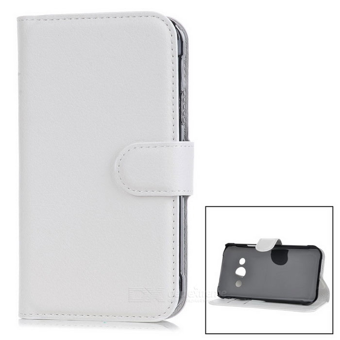 Lychee Pattern Flip-Open Case for Samsung Galaxy Xcover 3 G388F -WhiteLeather Cases<br>Form  ColorWhiteModel-MaterialPUQuantity1 DX.PCM.Model.AttributeModel.UnitShade Of ColorWhiteCompatible ModelsSamsung Galaxy xcover 3 G388FFeaturesAnti-slip,Dust-proof,Easy-to-remove,Holder functionPacking List1 * Case<br>