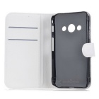 Lychee Pattern Flip-Open Case for Samsung Galaxy Xcover 3 G388F -White