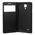 Protective PU Leather Case w/ Visual Window for Samsung S4 - Black
