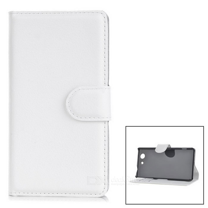Lychee Pattern Protective PU Case for Z4 Mini / Z4 Compact - White