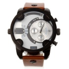 Sports Men's PU Band Watch w/ 3-Decorative Subdials - White + Brown (1 * SR626SW)